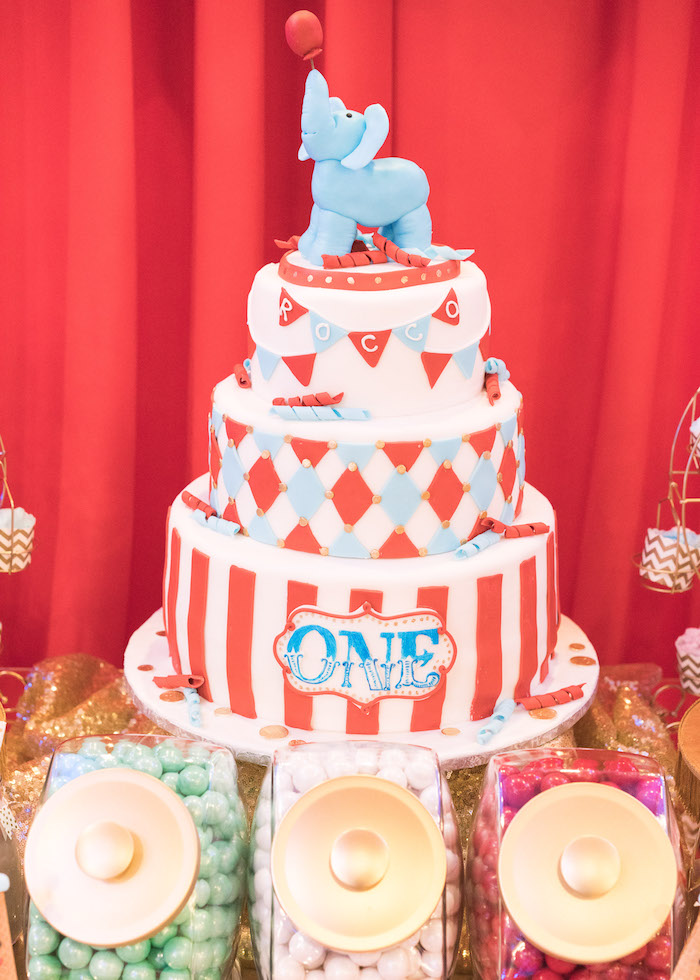 Circus cake from a Vintage Whimsical Circus Birthday Party on Kara's Party Ideas | KarasPartyIdeas.com (26)