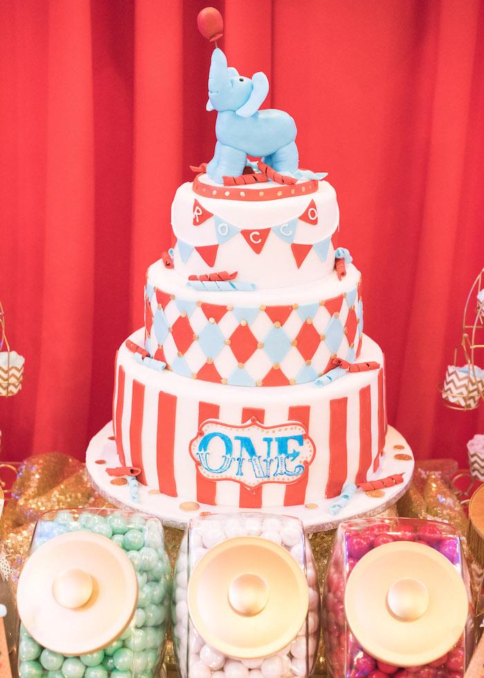 Circus cake from a Vintage Whimsical Circus Birthday Party on Kara's Party Ideas | KarasPartyIdeas.com (26)