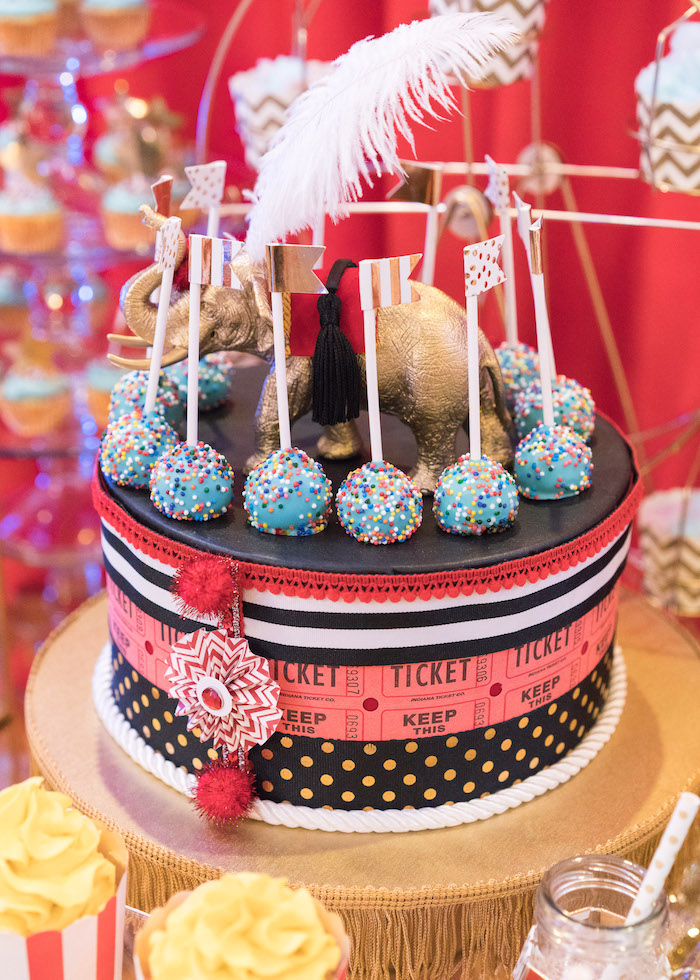 Circus-inspired cake pop pedestal from a Vintage Whimsical Circus Birthday Party on Kara's Party Ideas | KarasPartyIdeas.com (25)