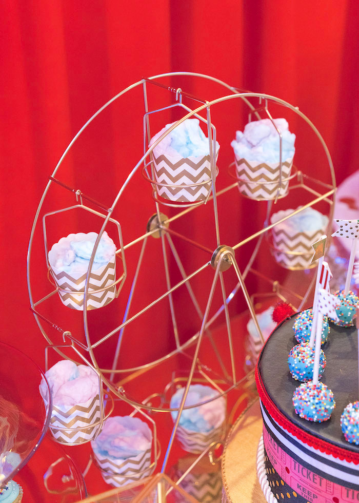 Cotton candy cups on a ferris wheel holder from a Vintage Whimsical Circus Birthday Party on Kara's Party Ideas | KarasPartyIdeas.com (21)