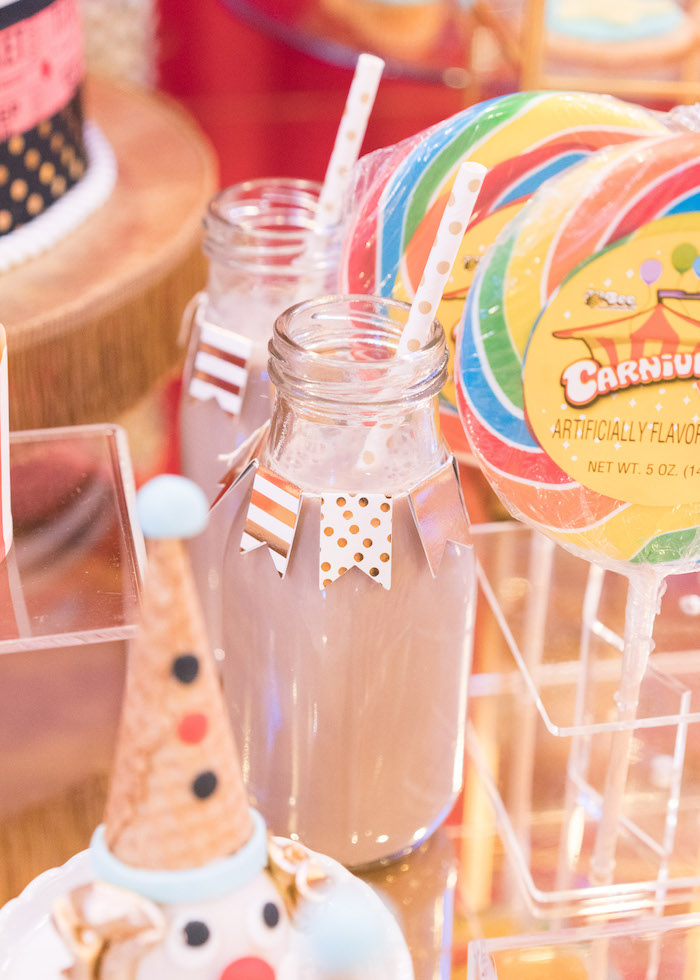 Drink bottle from a Vintage Whimsical Circus Birthday Party on Kara's Party Ideas | KarasPartyIdeas.com (19)