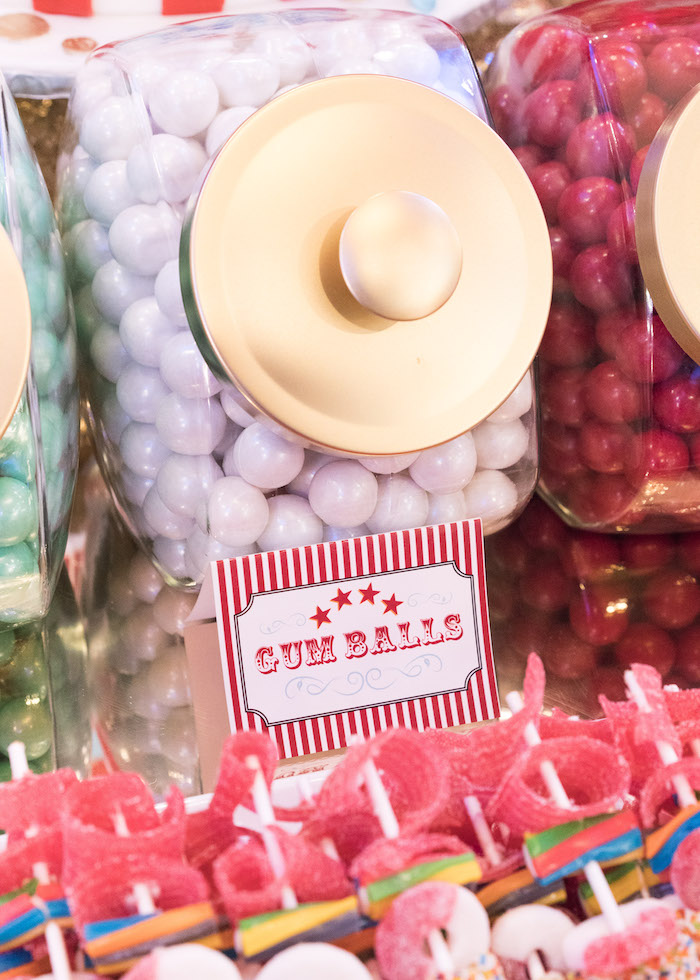 Gumballs from a Vintage Whimsical Circus Birthday Party on Kara's Party Ideas | KarasPartyIdeas.com (18)