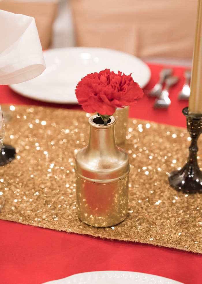 Gold bottle vase and flower centerpiece from a Vintage Whimsical Circus Birthday Party on Kara's Party Ideas | KarasPartyIdeas.com (36)