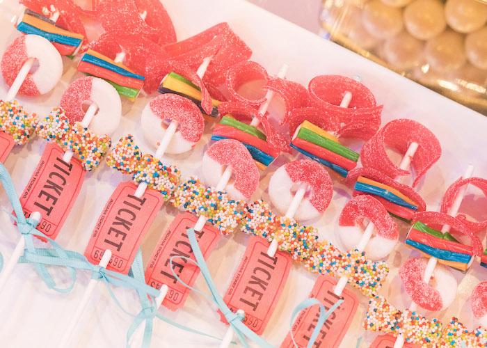 Circus candy kabobs from a Vintage Whimsical Circus Birthday Party on Kara's Party Ideas | KarasPartyIdeas.com (17)
