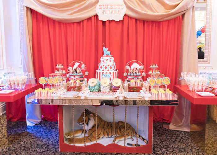 Circus train dessert table from a Vintage Whimsical Circus Birthday Party on Kara's Party Ideas | KarasPartyIdeas.com (14)