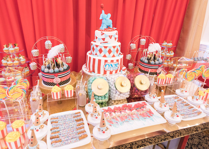 Circus sweet tablescape from a Vintage Whimsical Circus Birthday Party on Kara's Party Ideas | KarasPartyIdeas.com (12)