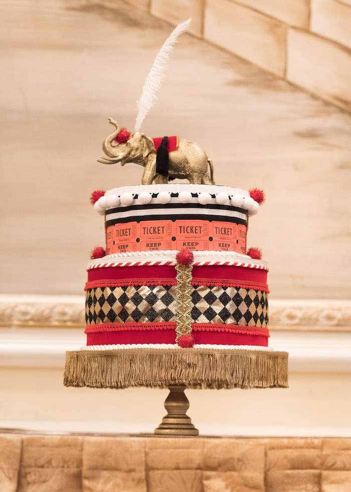 Faux circus cake centerpiece from a Vintage Whimsical Circus Birthday Party on Kara's Party Ideas | KarasPartyIdeas.com (35)