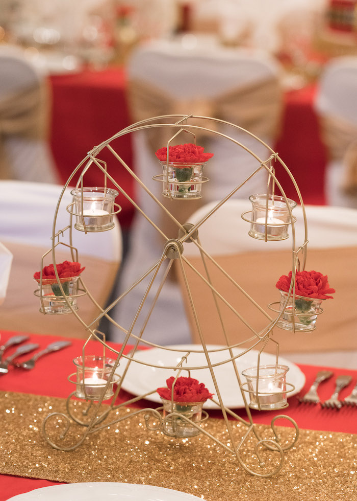 Ferris wheel table centerpiece from a Vintage Whimsical Circus Birthday Party on Kara's Party Ideas | KarasPartyIdeas.com (34)