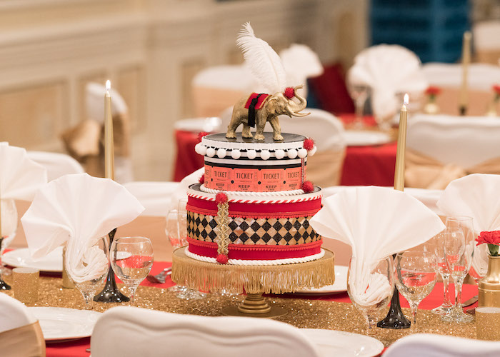 Guest table from a Vintage Whimsical Circus Birthday Party on Kara's Party Ideas | KarasPartyIdeas.com (33)