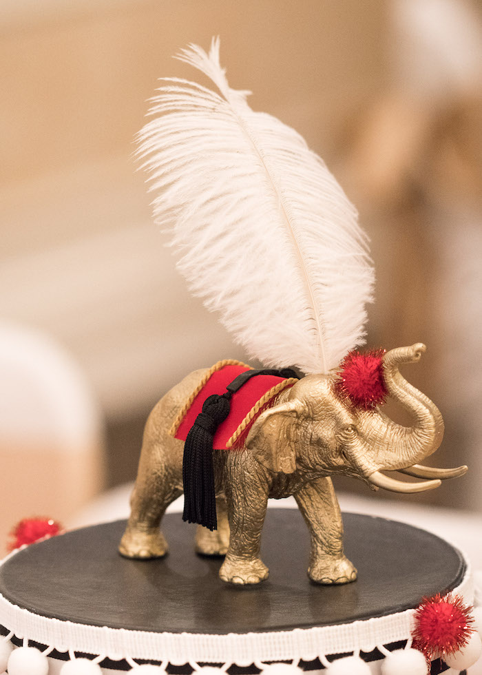 Gold elephant cake topper from a Vintage Whimsical Circus Birthday Party on Kara's Party Ideas | KarasPartyIdeas.com (31)