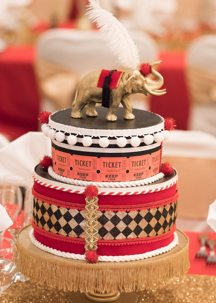 Faux circus cake centerpiece from a Vintage Whimsical Circus Birthday Party on Kara's Party Ideas | KarasPartyIdeas.com (30)