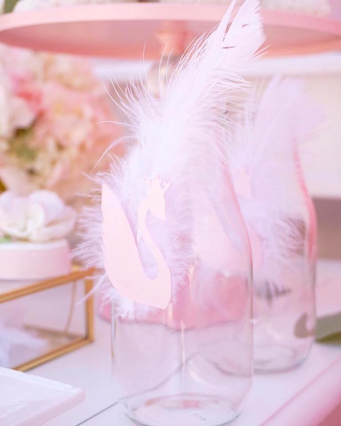 Swan drink bottles from a Whimsical Swan Soiree on Kara's Party Ideas | KarasPartyIdeas.com (26)