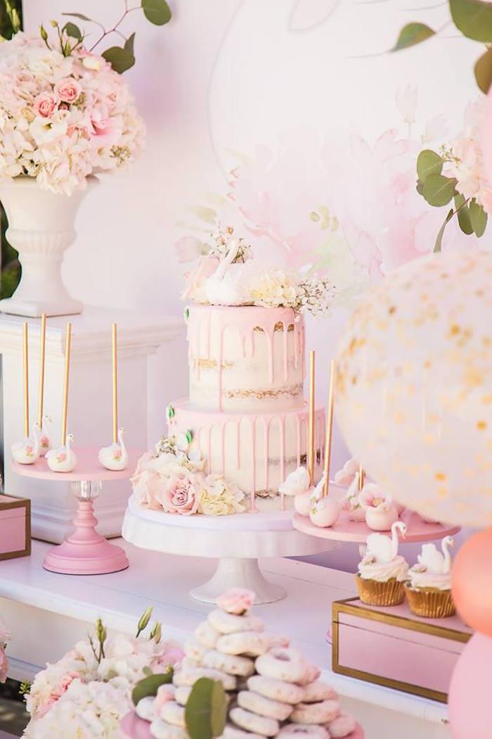 Swan cake from a Whimsical Swan Soiree on Kara's Party Ideas | KarasPartyIdeas.com (25)