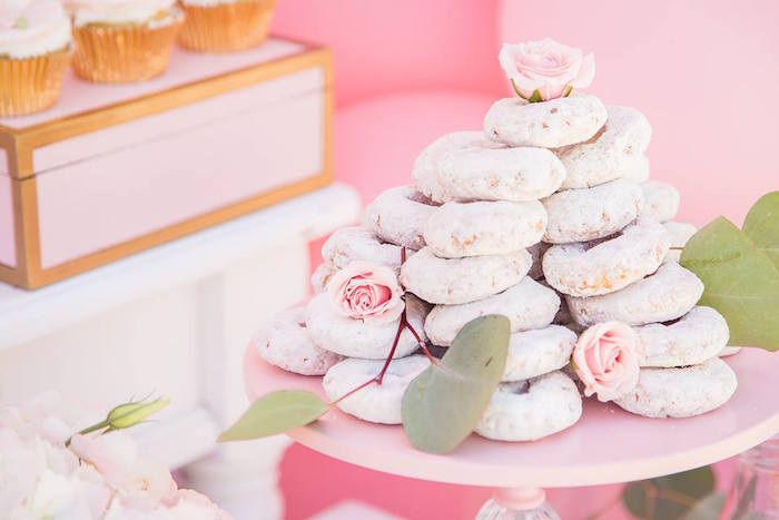 Stacked powdered doughnut cake from a Whimsical Swan Soiree on Kara's Party Ideas | KarasPartyIdeas.com (23)