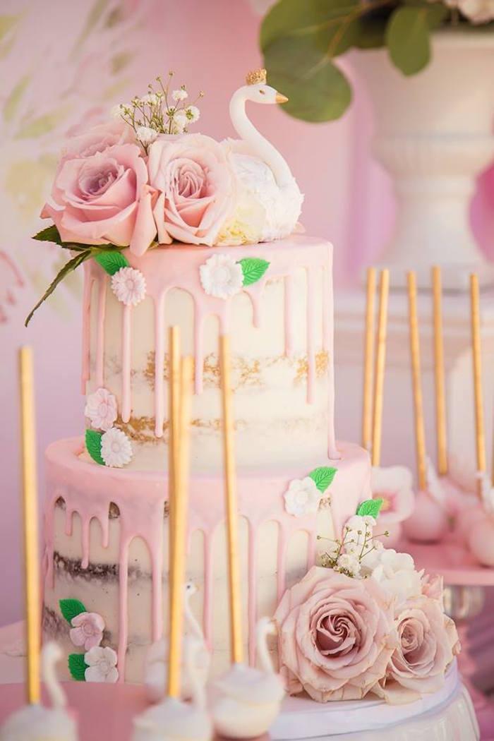 Semi-naked drip cake from a Whimsical Swan Soiree on Kara's Party Ideas | KarasPartyIdeas.com (19)