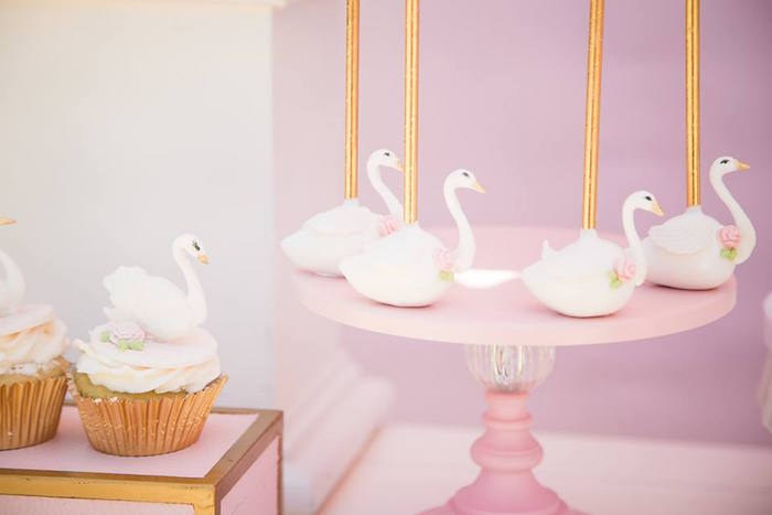 Swan cake pops and cupcakes from a Whimsical Swan Soiree on Kara's Party Ideas | KarasPartyIdeas.com (15)