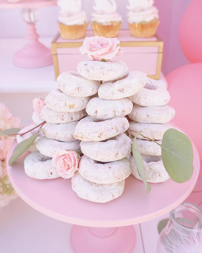Stacked powdered doughnuts from a Whimsical Swan Soiree on Kara's Party Ideas | KarasPartyIdeas.com (14)