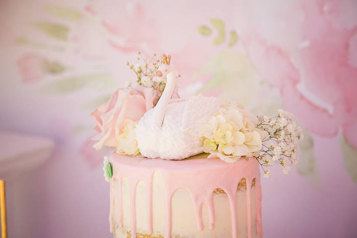 Swan cake top from a Whimsical Swan Soiree on Kara's Party Ideas | KarasPartyIdeas.com (13)