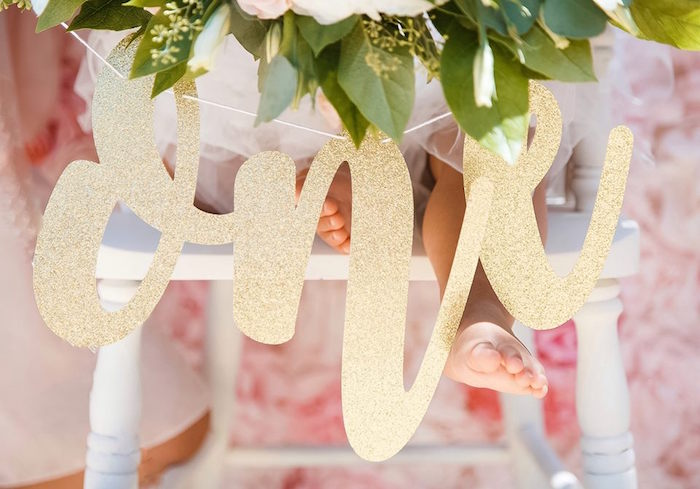 Gold script signage from a Whimsical Swan Soiree on Kara's Party Ideas | KarasPartyIdeas.com (11)