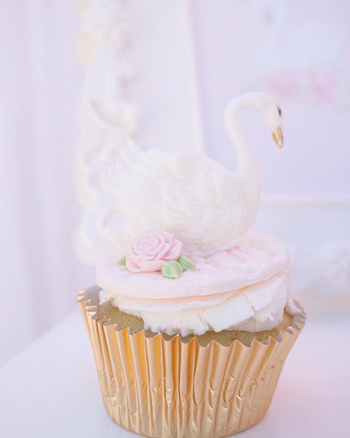 Swan cupcake from a Whimsical Swan Soiree on Kara's Party Ideas | KarasPartyIdeas.com (6)