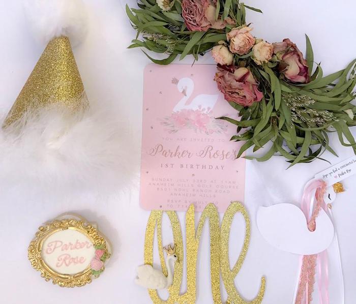 Swan party invite + decor from a Whimsical Swan Soiree on Kara's Party Ideas | KarasPartyIdeas.com (31)