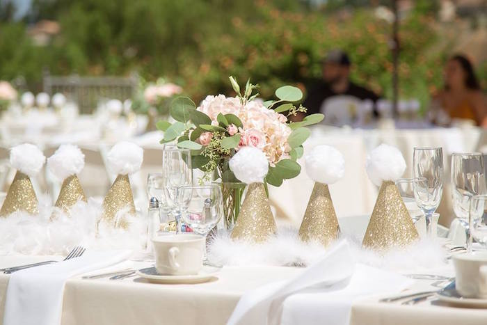 Swan-inspired guest table from a Whimsical Swan Soiree on Kara's Party Ideas | KarasPartyIdeas.com (28)