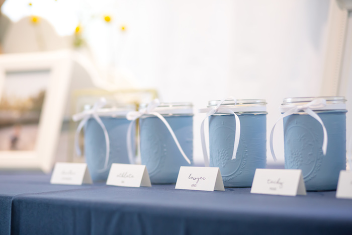 Dohl jars from a You Are My Sunshine Yellow & Blue Birthday Party on Kara's Party Ideas | KarasPartyIdeas.com (15)