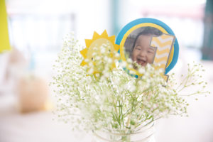 Floral centerpiece from a You Are My Sunshine Yellow & Blue Birthday Party on Kara's Party Ideas   KarasPartyIdeas.com (14)