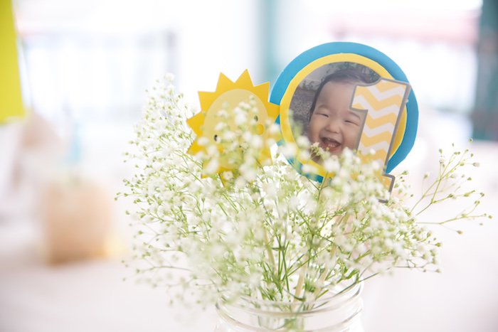 Floral centerpiece from a You Are My Sunshine Yellow & Blue Birthday Party on Kara's Party Ideas | KarasPartyIdeas.com (14)