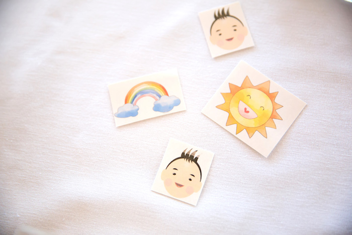 Cartoon tattoos from a You Are My Sunshine Yellow & Blue Birthday Party on Kara's Party Ideas | KarasPartyIdeas.com (13)