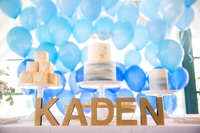 Wooden block letters from a You Are My Sunshine Yellow & Blue Birthday Party on Kara's Party Ideas | KarasPartyIdeas.com (11)
