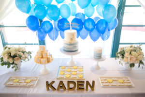Cake tabletop from a You Are My Sunshine Yellow & Blue Birthday Party on Kara's Party Ideas | KarasPartyIdeas.com (10)