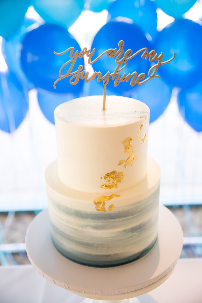 Cake from a You Are My Sunshine Yellow & Blue Birthday Party on Kara's Party Ideas | KarasPartyIdeas.com (9)