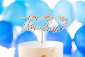 Cake topper from a You Are My Sunshine Yellow & Blue Birthday Party on Kara's Party Ideas | KarasPartyIdeas.com (8)