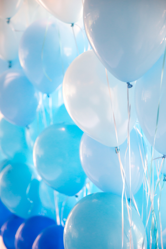 Ombre balloon wall from a You Are My Sunshine Yellow & Blue Birthday Party on Kara's Party Ideas | KarasPartyIdeas.com (7)