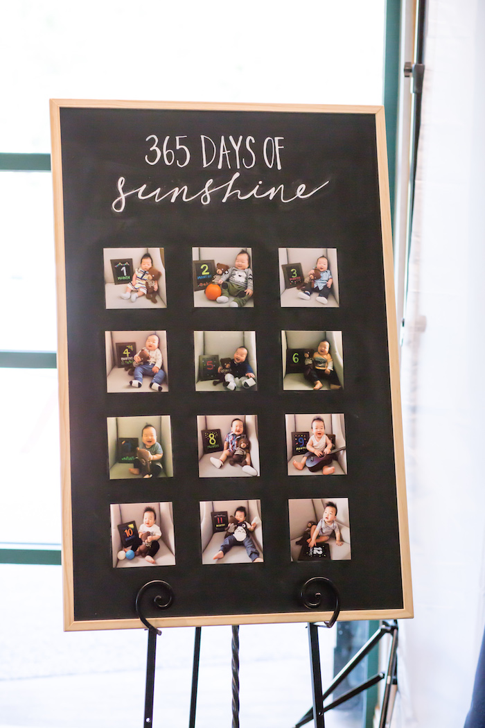 First-year photo board from a You Are My Sunshine Yellow & Blue Birthday Party on Kara's Party Ideas | KarasPartyIdeas.com (24)