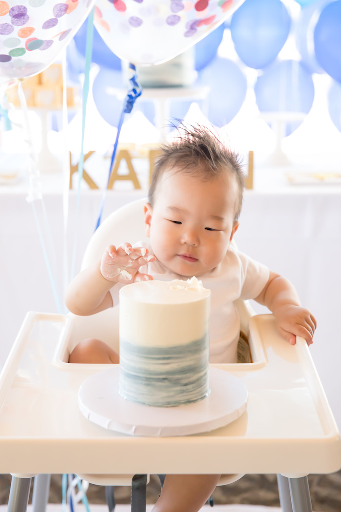 Smash cake from a You Are My Sunshine Yellow & Blue Birthday Party on Kara's Party Ideas | KarasPartyIdeas.com (4)