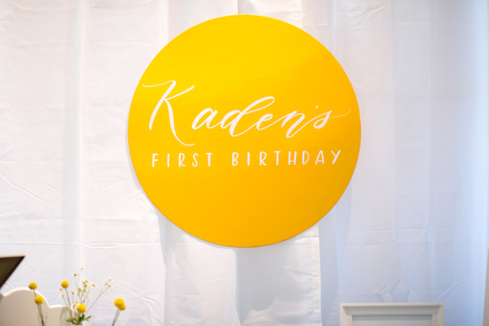 Sunshine backdrop signage from a You Are My Sunshine Yellow & Blue Birthday Party on Kara's Party Ideas | KarasPartyIdeas.com (23)