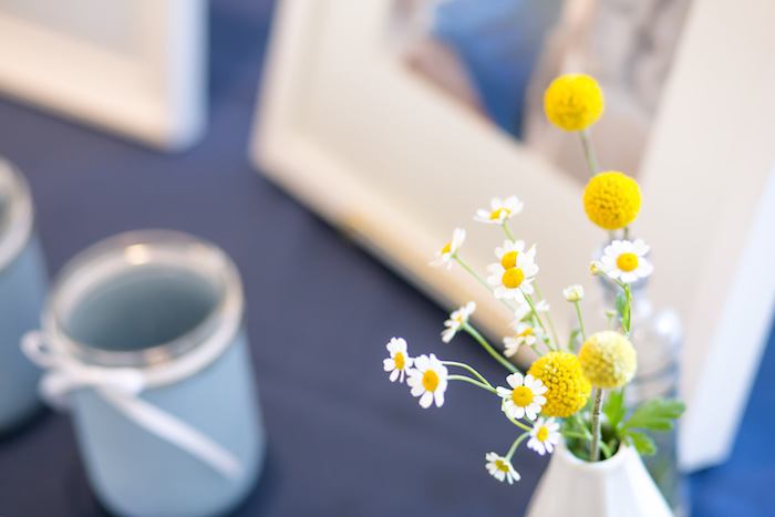 Soft blooms from a You Are My Sunshine Yellow & Blue Birthday Party on Kara's Party Ideas | KarasPartyIdeas.com (21)