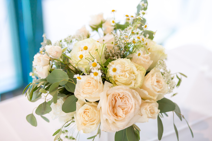 Floral arrangement from a You Are My Sunshine Yellow & Blue Birthday Party on Kara's Party Ideas | KarasPartyIdeas.com (20)