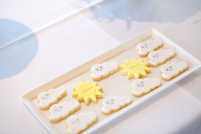 Cloud and sun cookies from a You Are My Sunshine Yellow & Blue Birthday Party on Kara's Party Ideas | KarasPartyIdeas.com (19)