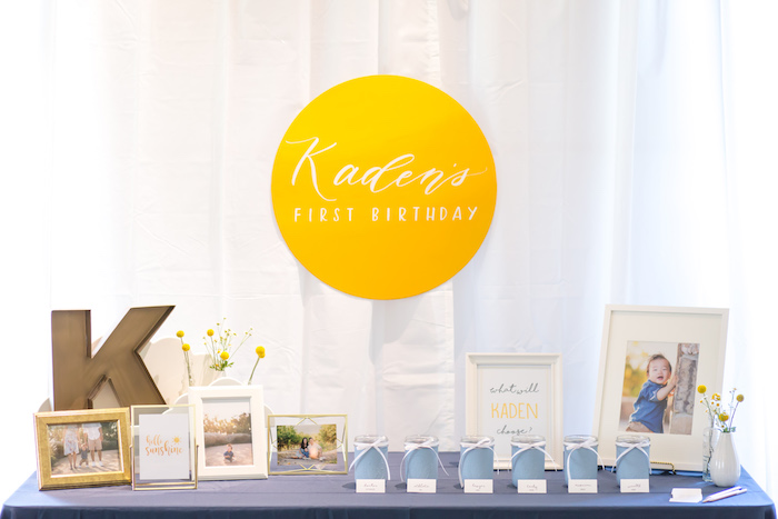 Party table from a You Are My Sunshine Yellow & Blue Birthday Party on Kara's Party Ideas | KarasPartyIdeas.com (16)