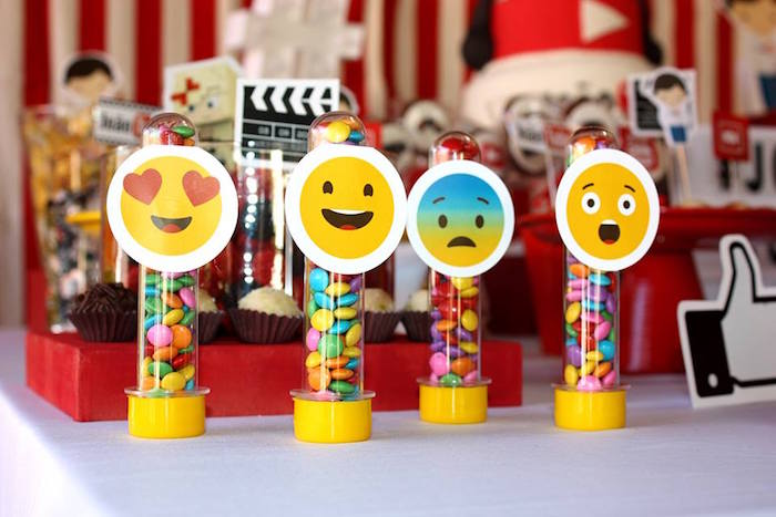 Emoji favor tubes from a YouTube Themed Birthday Party on Kara's Party Ideas | KarasPartyIdeas.com (4)