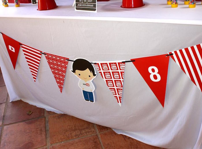 Custom YouTube pennant banner from a YouTube Themed Birthday Party on Kara's Party Ideas | KarasPartyIdeas.com (8)