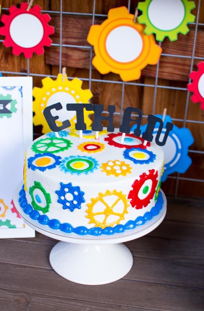Robot Birthday Cake from a Colorful Robot Birthday Party via Kara's Party Ideas | KarasPartyIdeas.com