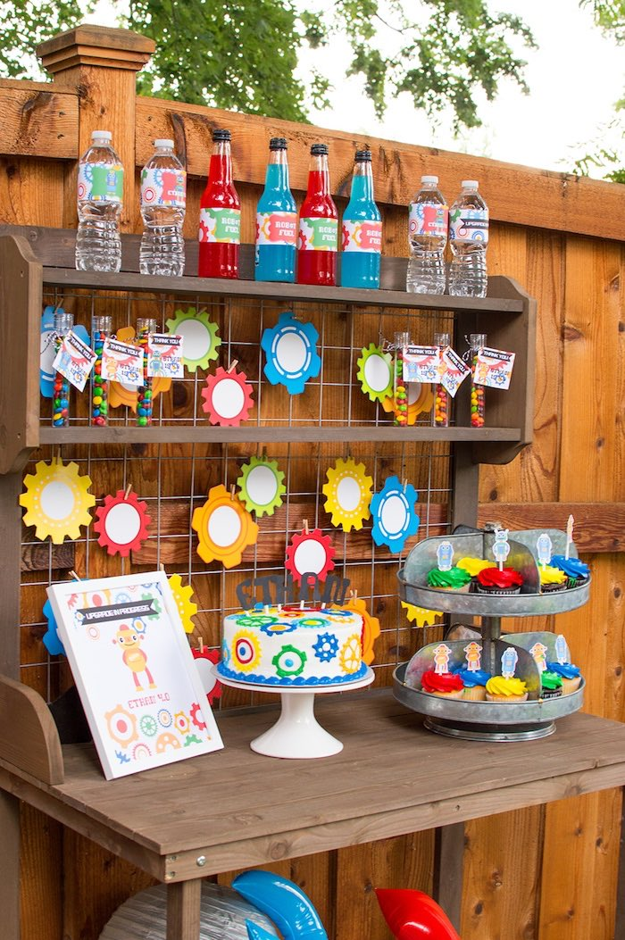 Dessert table from a Colorful Robot Birthday Party on Kara's Party Ideas | KarasPartyIdeas.com