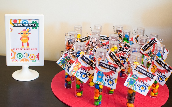 Party favors from a Colorful Robot Birthday Party on Kara's Party Ideas | KarasPartyIdeas.com