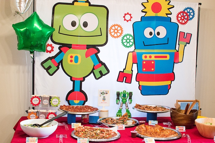Pizza table from a Colorful Robot Birthday Party on Kara's Party Ideas | KarasPartyIdeas.com