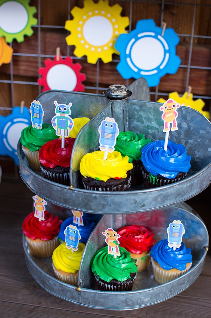 Robot cupcakes from a Colorful Robot Birthday Party on Kara's Party Ideas | KarasPartyIdeas.com