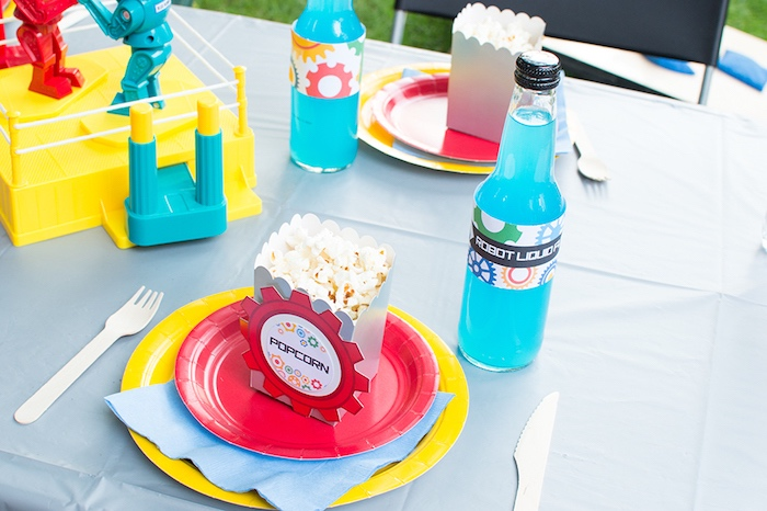 Place setting from a Colorful Robot Birthday Party on Kara's Party Ideas | KarasPartyIdeas.com